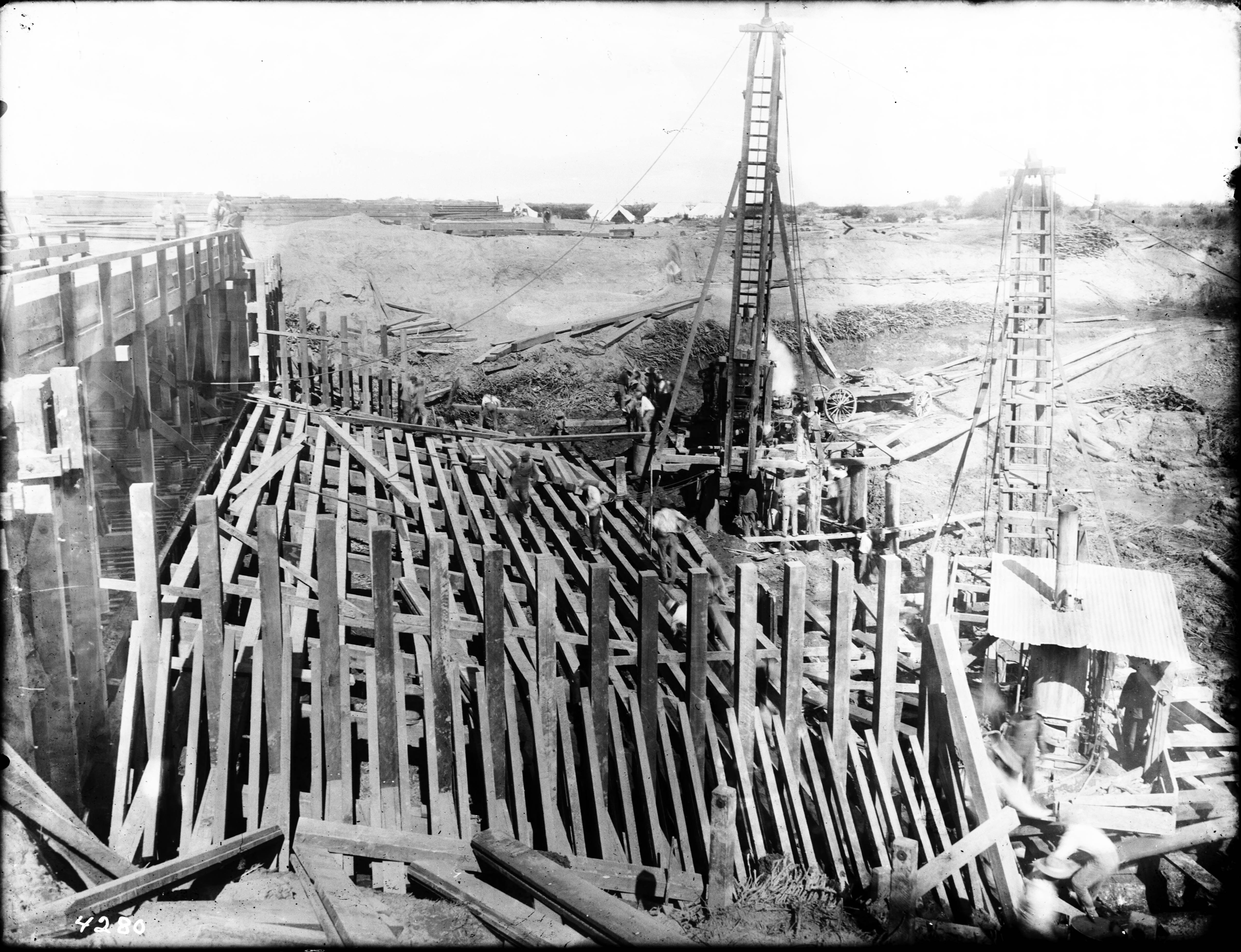 File construction of the imperial canal head gate apron on the colorado river sharps