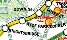 Map extract showing location of Down Street station between Dover Street and Hyde Park Corner