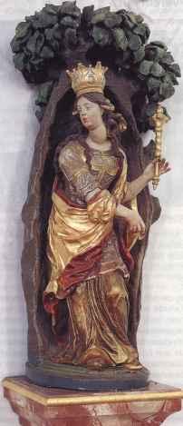 Edigna i linden. Statue fra 1700-tallet ved siden av høyalteret i St. Sebastian i Puch