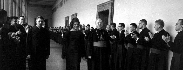 First Lady at the Vatican. Mrs. Kennedy visits the Pontifical North American College, Vatican City.jpg