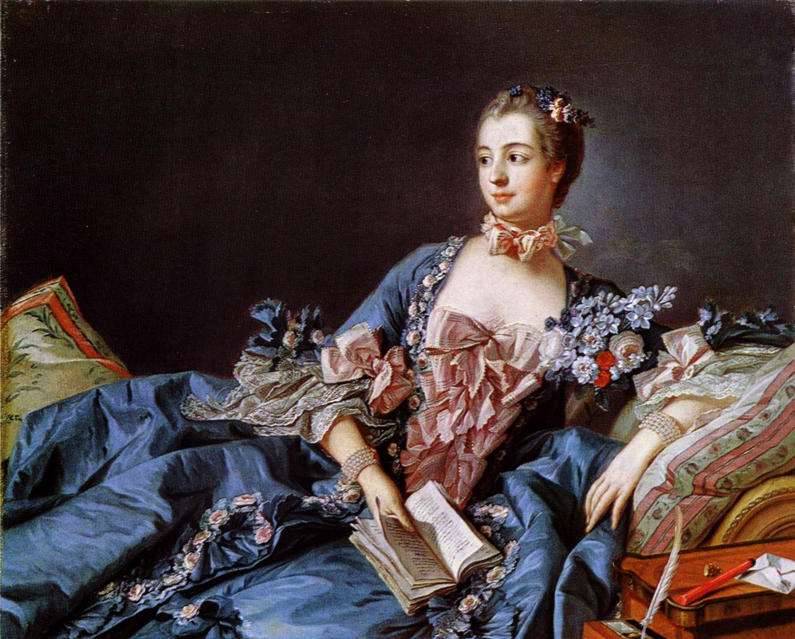 El retrato de Madame Pompadour, pintado por Francois Bocher en 1758, representa en el pecho una flor azul,  simbolizaba una declaración de amor a Luis XV