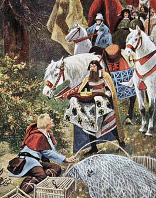 왕관을 전하는 사자와 마침 매 둥지를 고치고 있던 하인리히(출처 : 위키피디아)