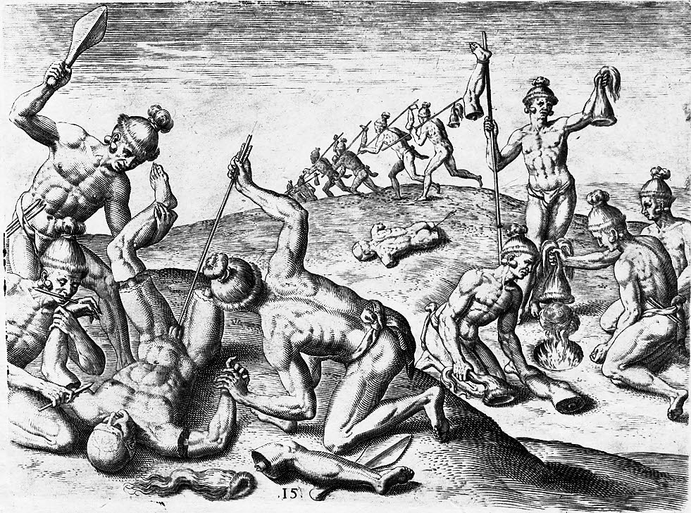 File Jacques Le Moyne How The Indians Treated The Corpses Of Their Enemy Clean Jpg Wikimedia Commons