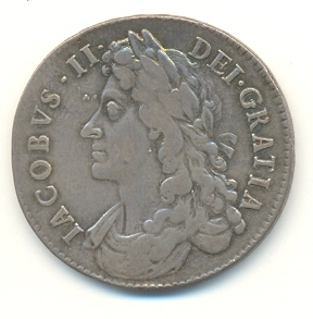 Half crown coin of James II, 1686 James2coin.jpg