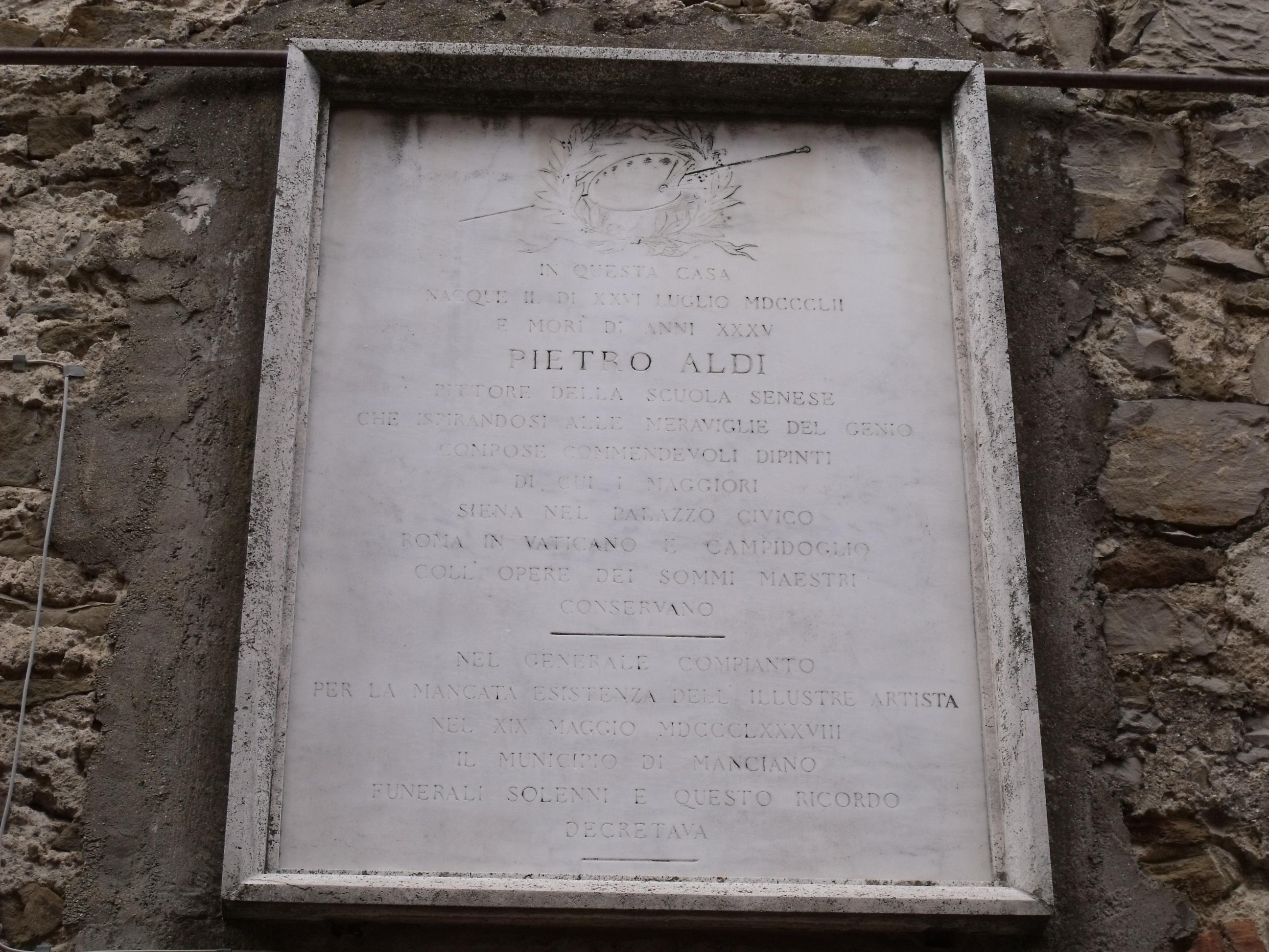 Lapide sulla casa natale di Pietro Aldi a Manciano