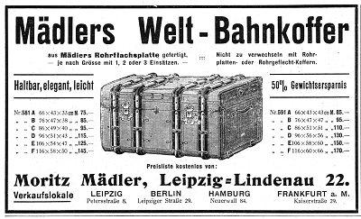 Werbeanzeige der Koffermanufaktur Moritz Mädler, Leipzig 1910