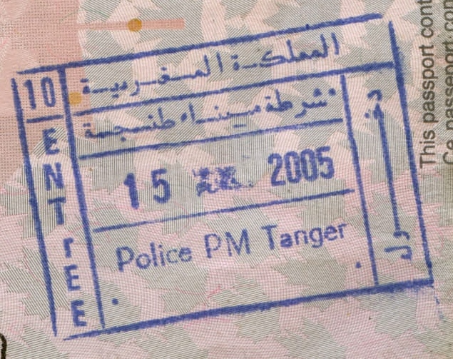 Passport entry stamp from Tangier port, Morocco - the ... Goodreads