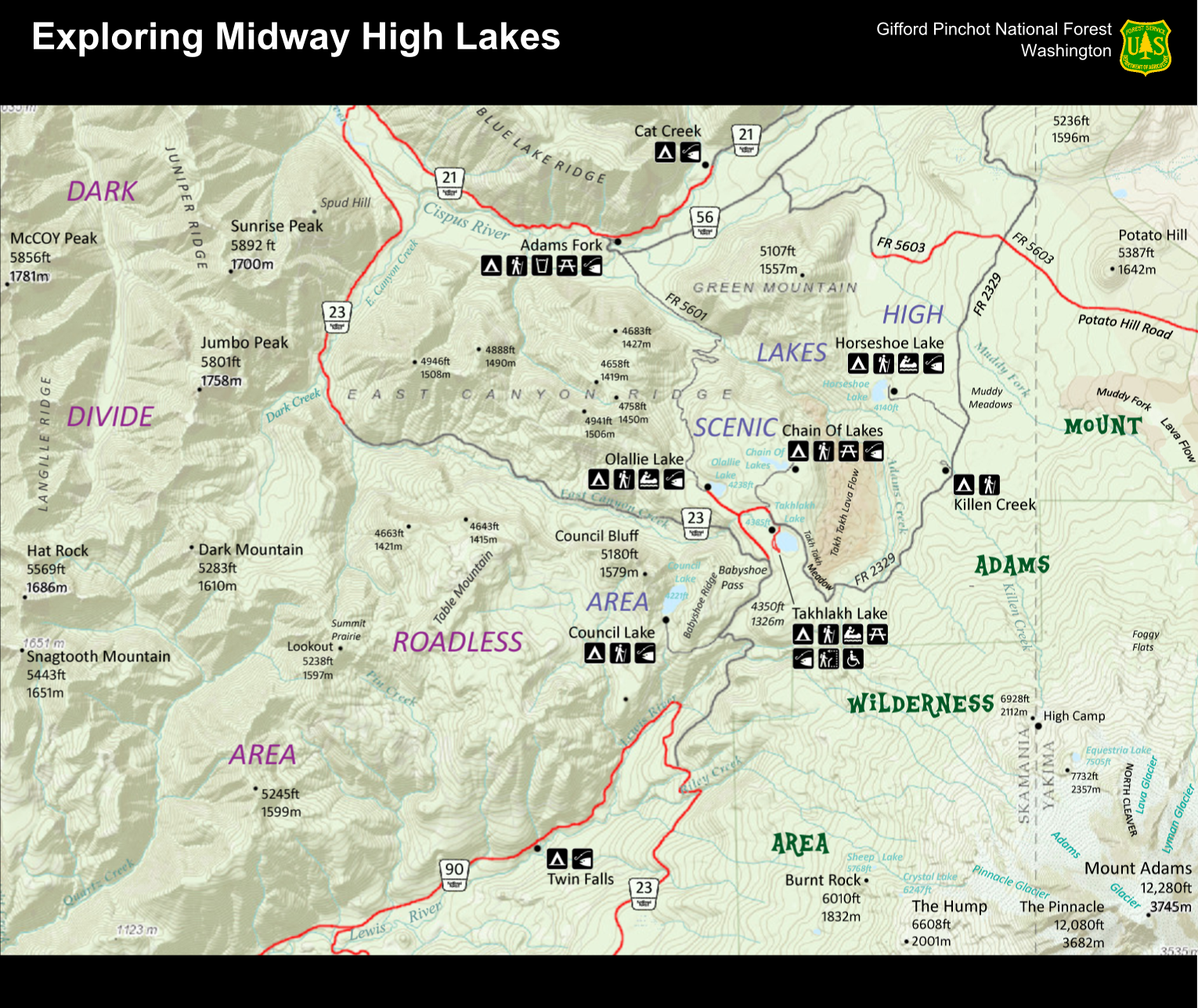 Mt Adams Washington Map.File Mount Adams Midway High Lakes Area Visitor Map Png Wikimedia