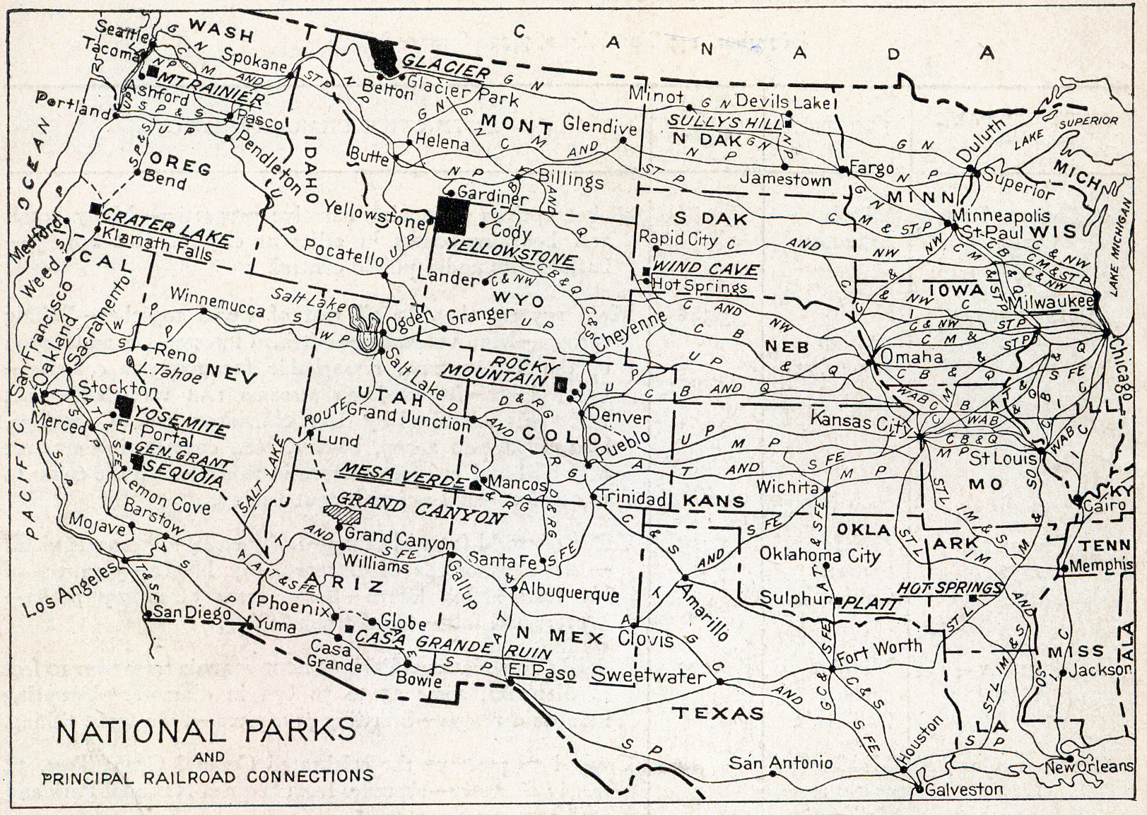 In 1916, a portfolio of nine major parks was published to generate interest. Printed on each brochure was a map showing the parks and principal railroad connections.