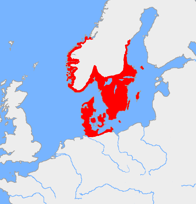 Map of the Nordic Bronze Age culture, around 1200 BC.