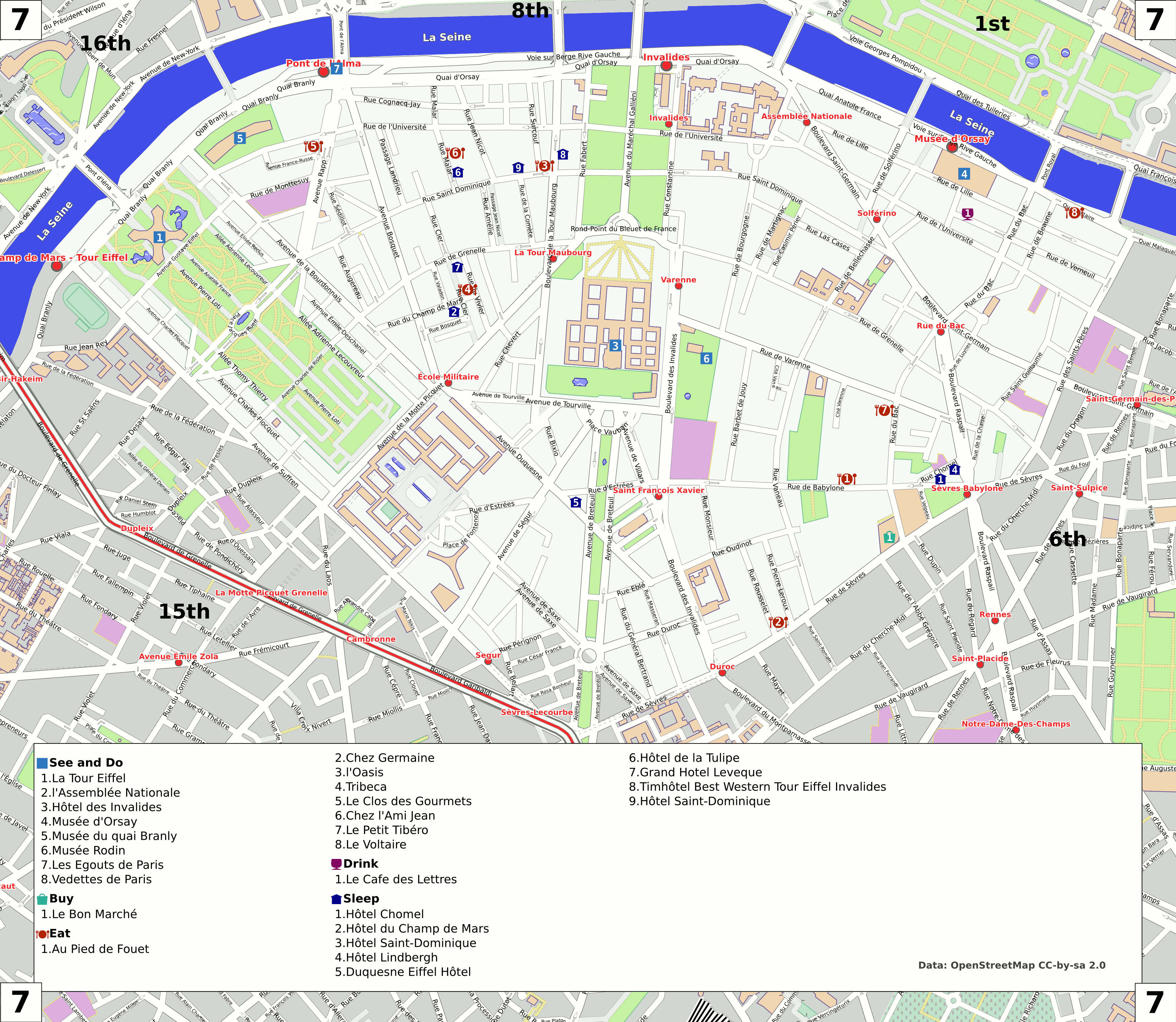 file paris 7th arrondissement map with listings