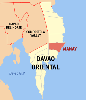 Map of Davao Oriental showing the location of Manay