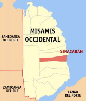 Map of Misamis Occidental showing the location of Sinacaban