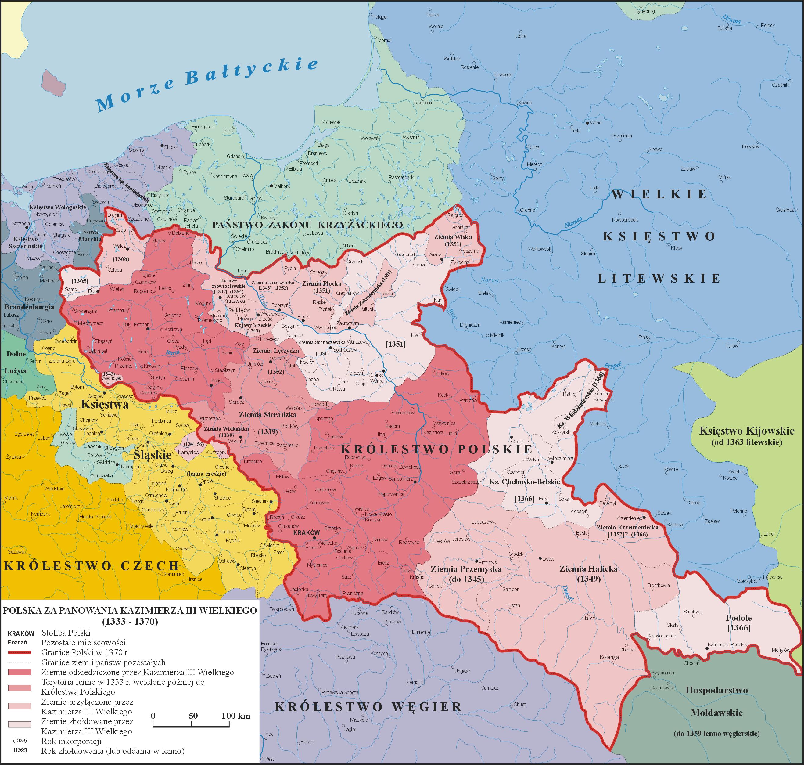 Mapa rozwoju Polski w latach 1333-1370