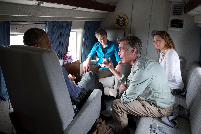 president barack obama talks with bill nye aboard marine one.jpg