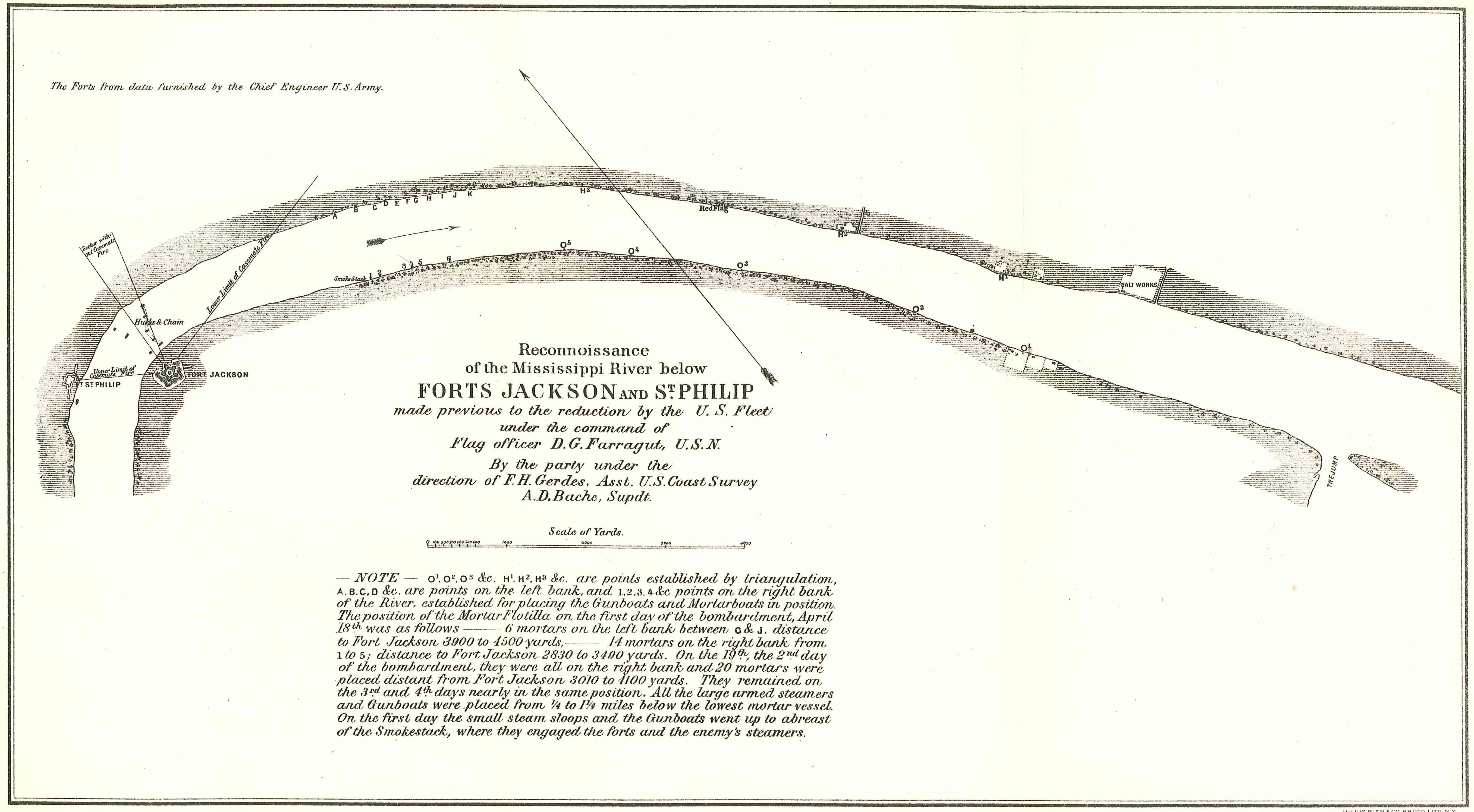 Survey of the Mississippi River below Forts Jackson and St. Philip to prepare for the bombardment of the forts by Porters mortar fleet. Plan done by the U.S. Coast Survey.ORN I, v. 18, p.362.