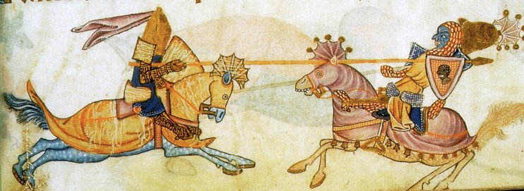 Imaginary encounter between Richard the Lionheart and Saladin, 13th-century manuscript. (Wikipedia)