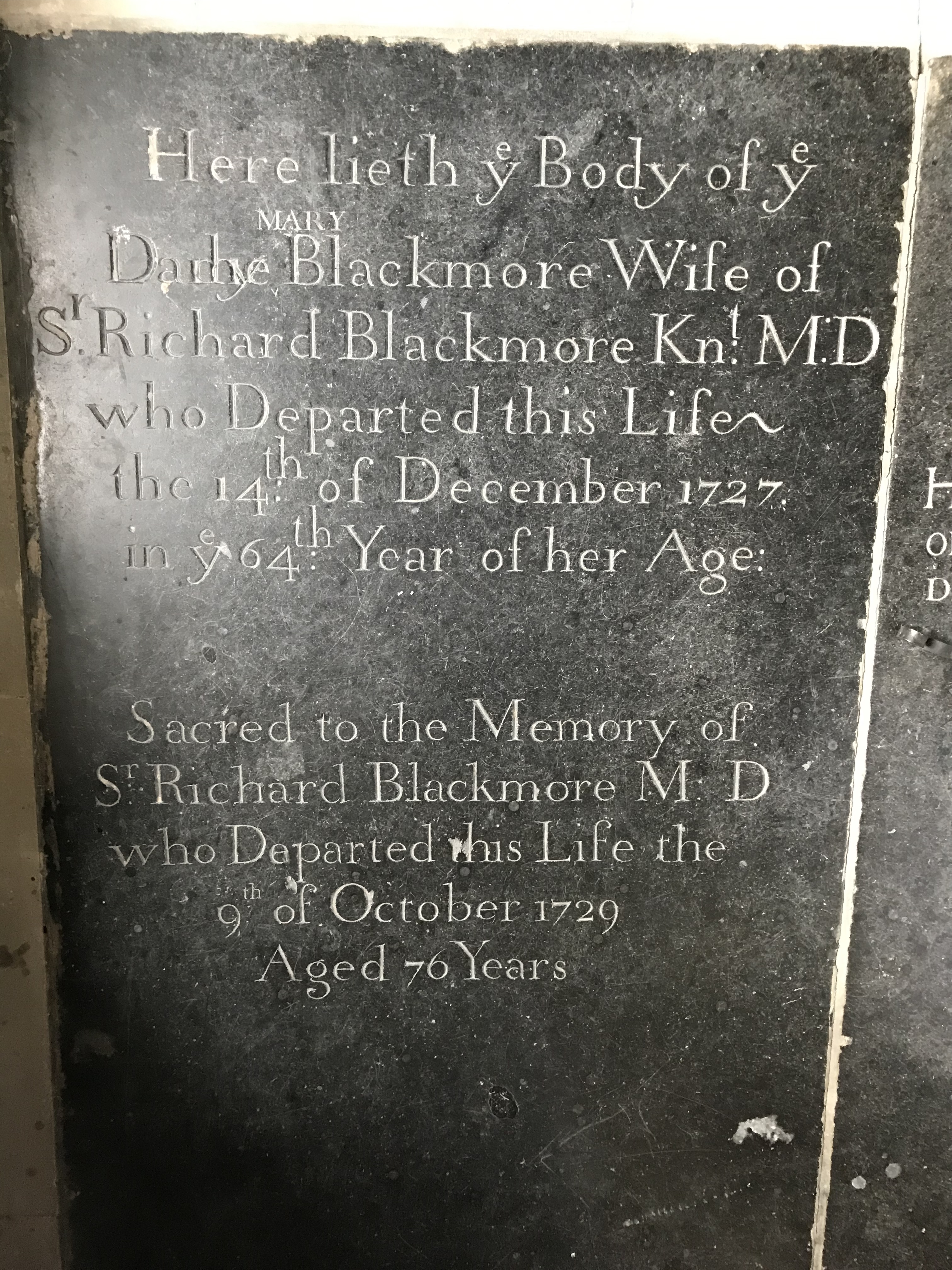 The grave of Richard Blackmore in the sanctuary of St Peter's Church, Boxted, Essex.