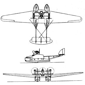 Savoia-Marchetti S.66 3-view Drawing