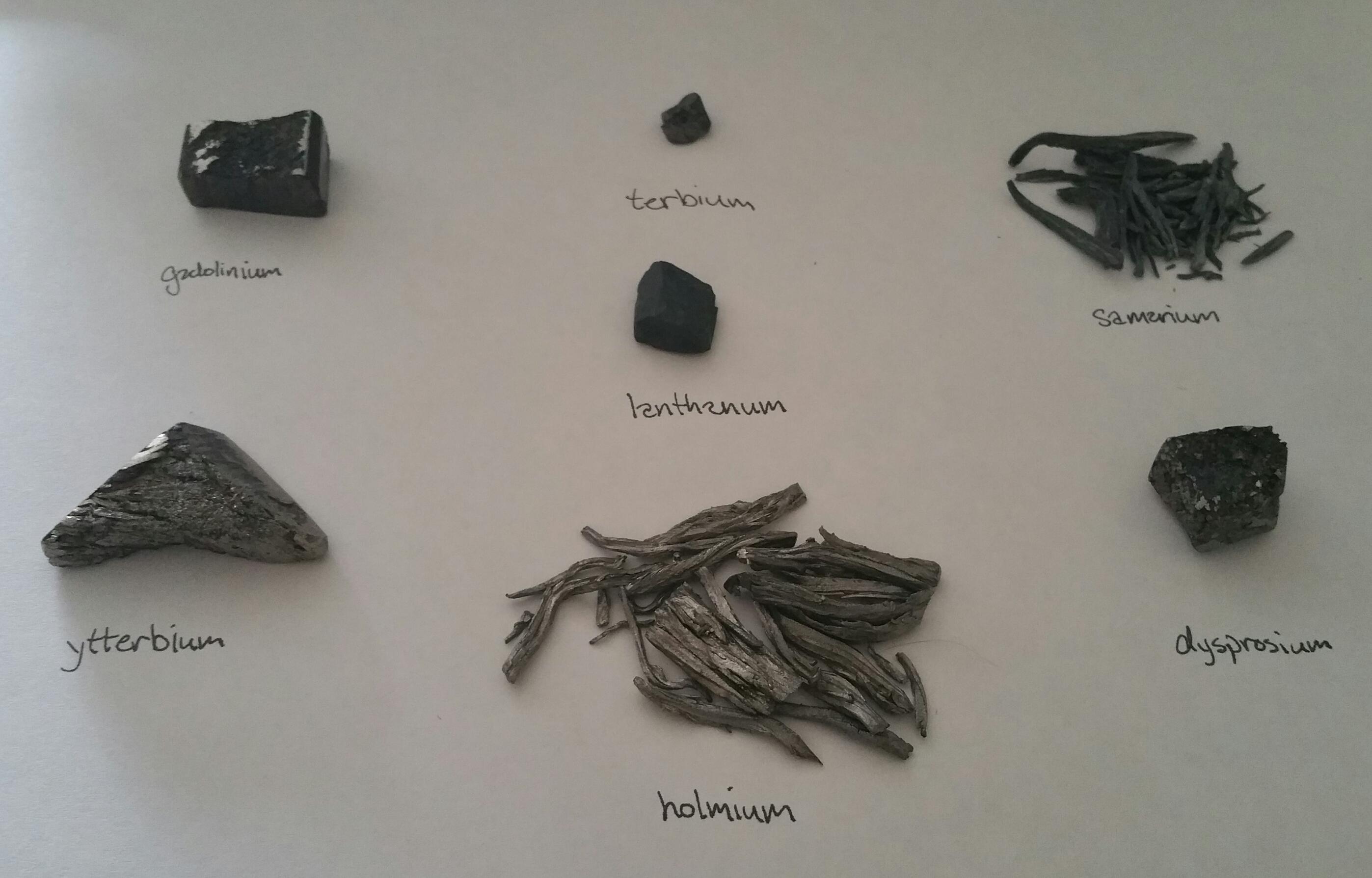 Seven lanthanides. Image courtesy of Wikimedia Commons