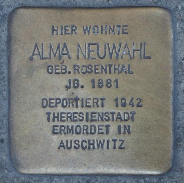 Stolperstein in Soest Brüderstraße 36, Alma Neuwahl