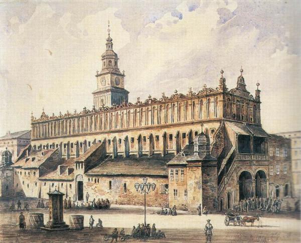 La Halle aux draps de Cracovie en 1869, les excroissances latérales n'existent plus.