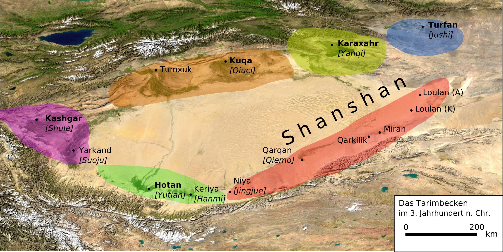 The Tarim Basin in the 3rd century CE.