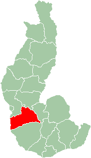 Map of former Toliara Province showing the location of Betioky (red).