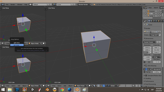 Join Areas Blender 3D