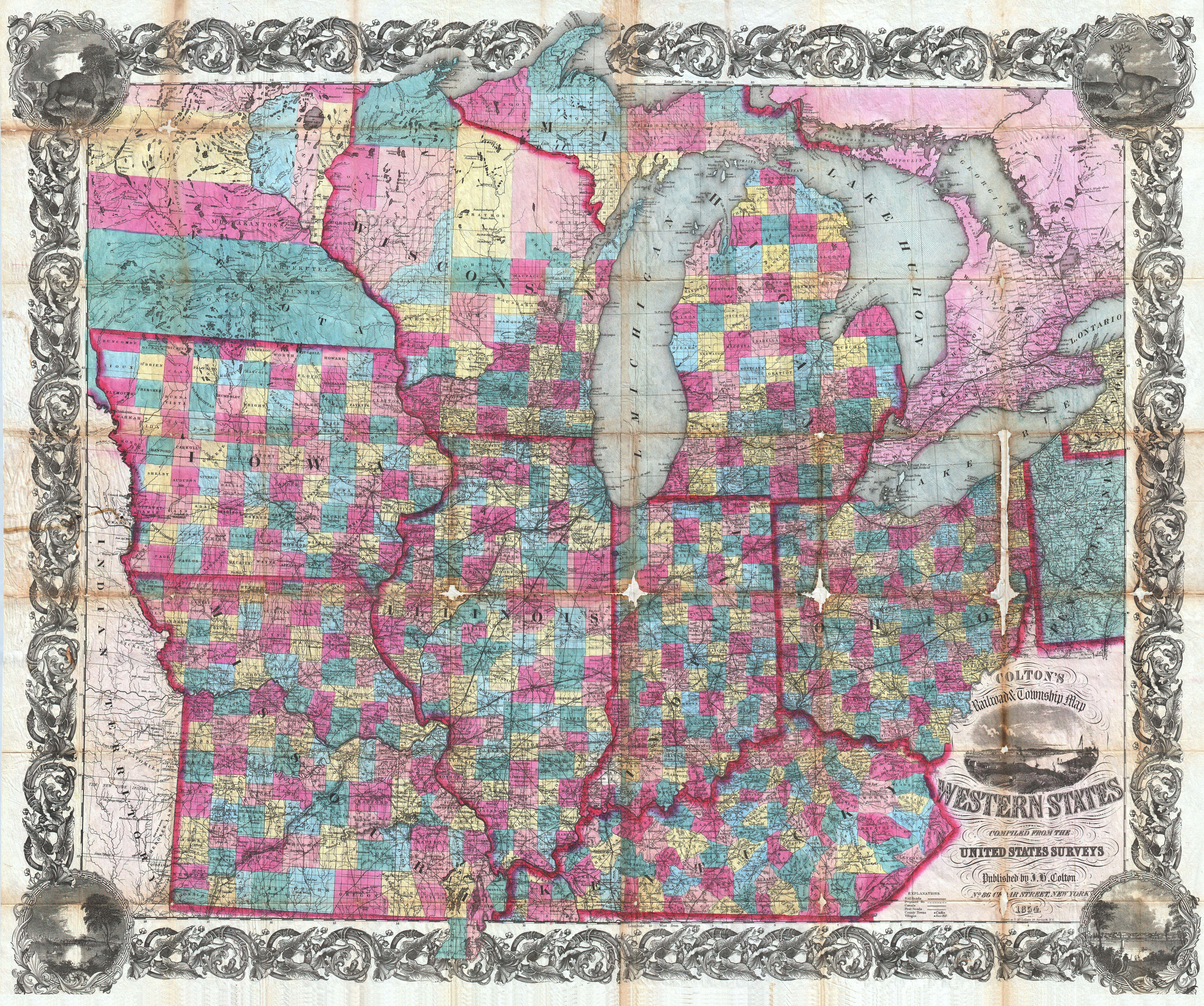 File:1854 Colton Pocket Map of Ohio, Michigan, Wisconsin, Iowa ... on