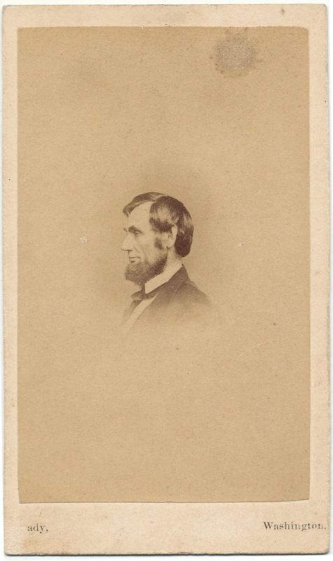 Lincoln profile after the death of his son Willie by Mathew Brady February 1862