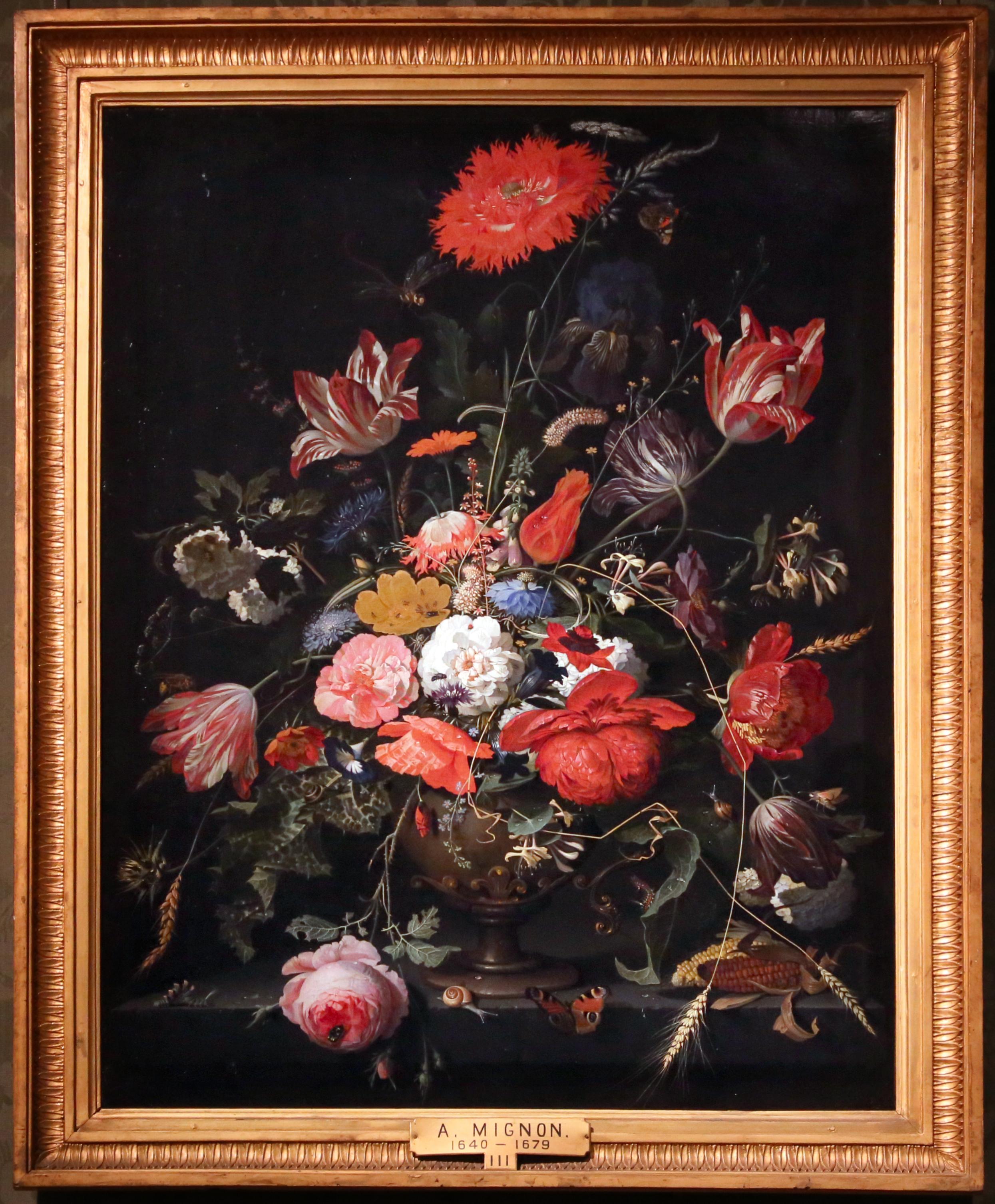 Fileabraham Mignon Fiori In Un Vaso Di Metallo 1670 Ca