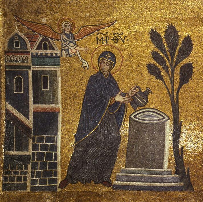 Mozaiek van de aankondiging van de geboorte van Jezus in de basiliek van San Marco in Venetië.