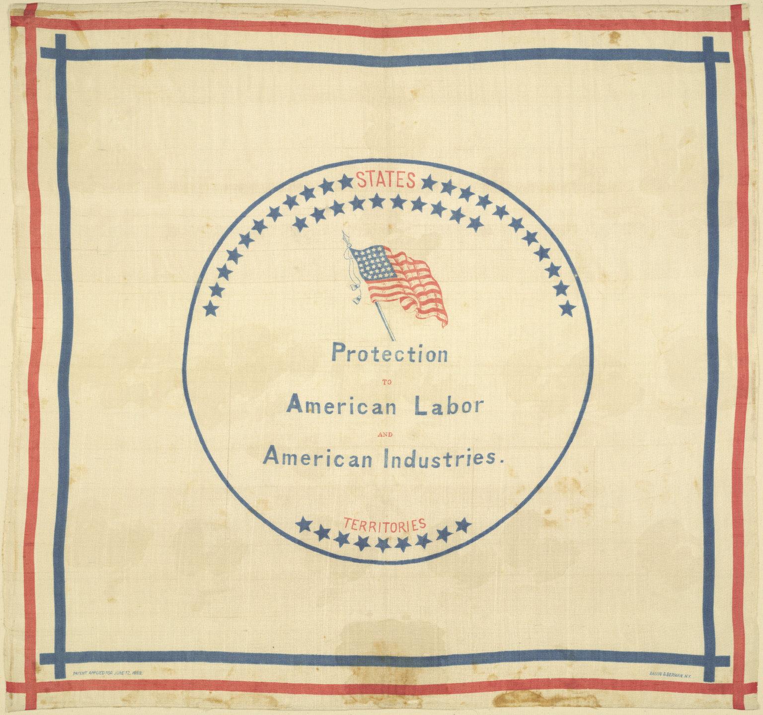 Benjamin Harrison Campaign Handkerchief, 1888