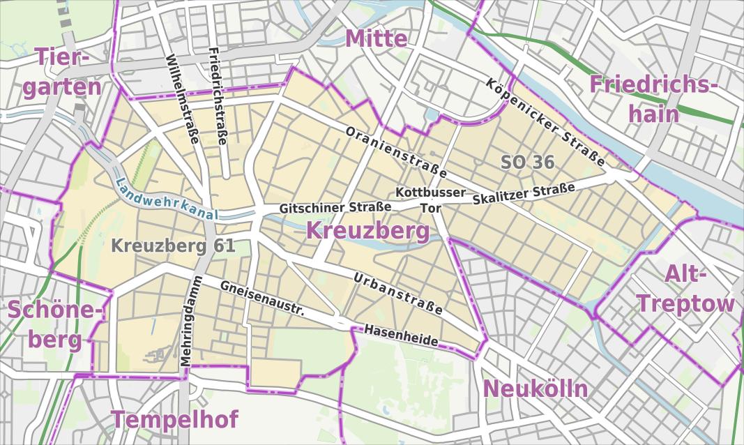 Übersichtskarte von Kreuzberg mit ausgewählten Straßen