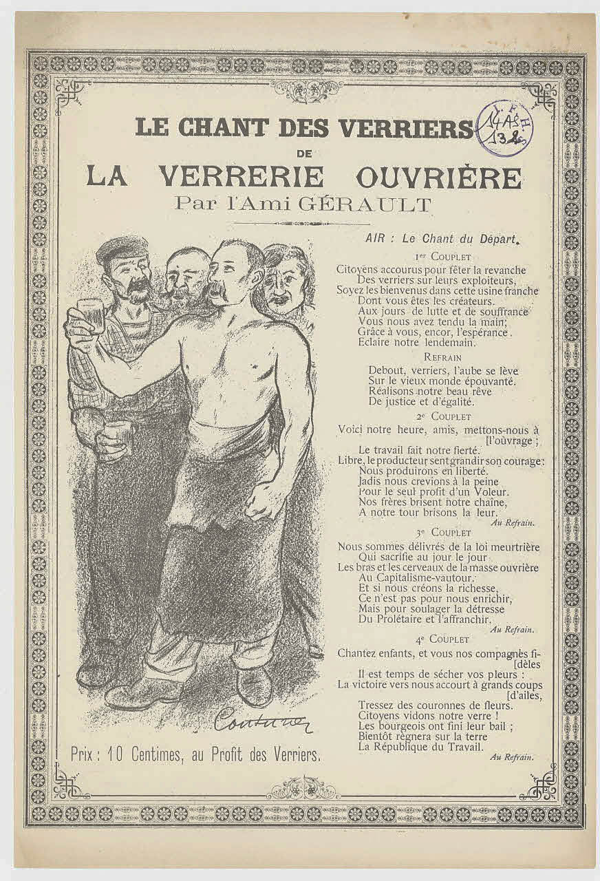 """Chanson """"chant des verriers de la verrerie ouvrière par l'Ami Gérault"""" 1 - Archives Nationales - 14AS-132.jpg"""