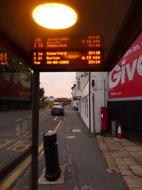 A Bus Stop with a Display Unit at Christchurch.