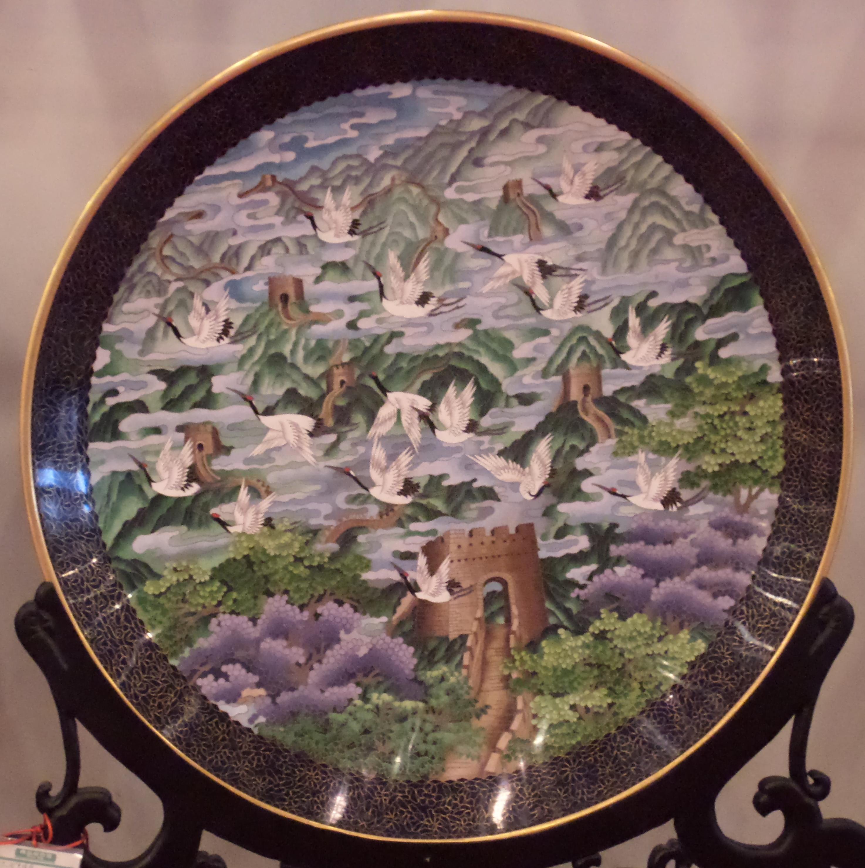 File Cloisonn Large Decorative Plate Jpg Wikimedia Commons