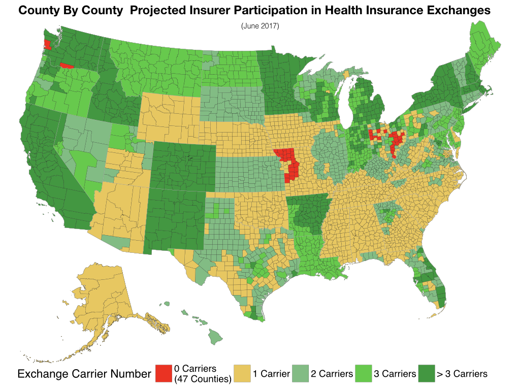 Affordable Care Act (ObamaCare).  County By County Projected Insurer Participation in Health Insurance Exchanges.