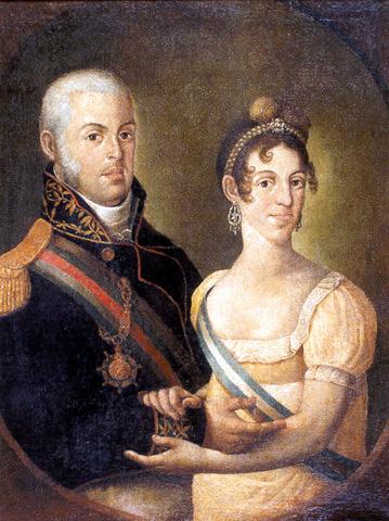 Dom João VI e Dona Carlota, por Manuel Dias de Oliveira (c. 1815).
