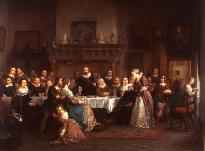 Een feestmaal op het slot te Muiden door Louis Moritz (1773-1850)
