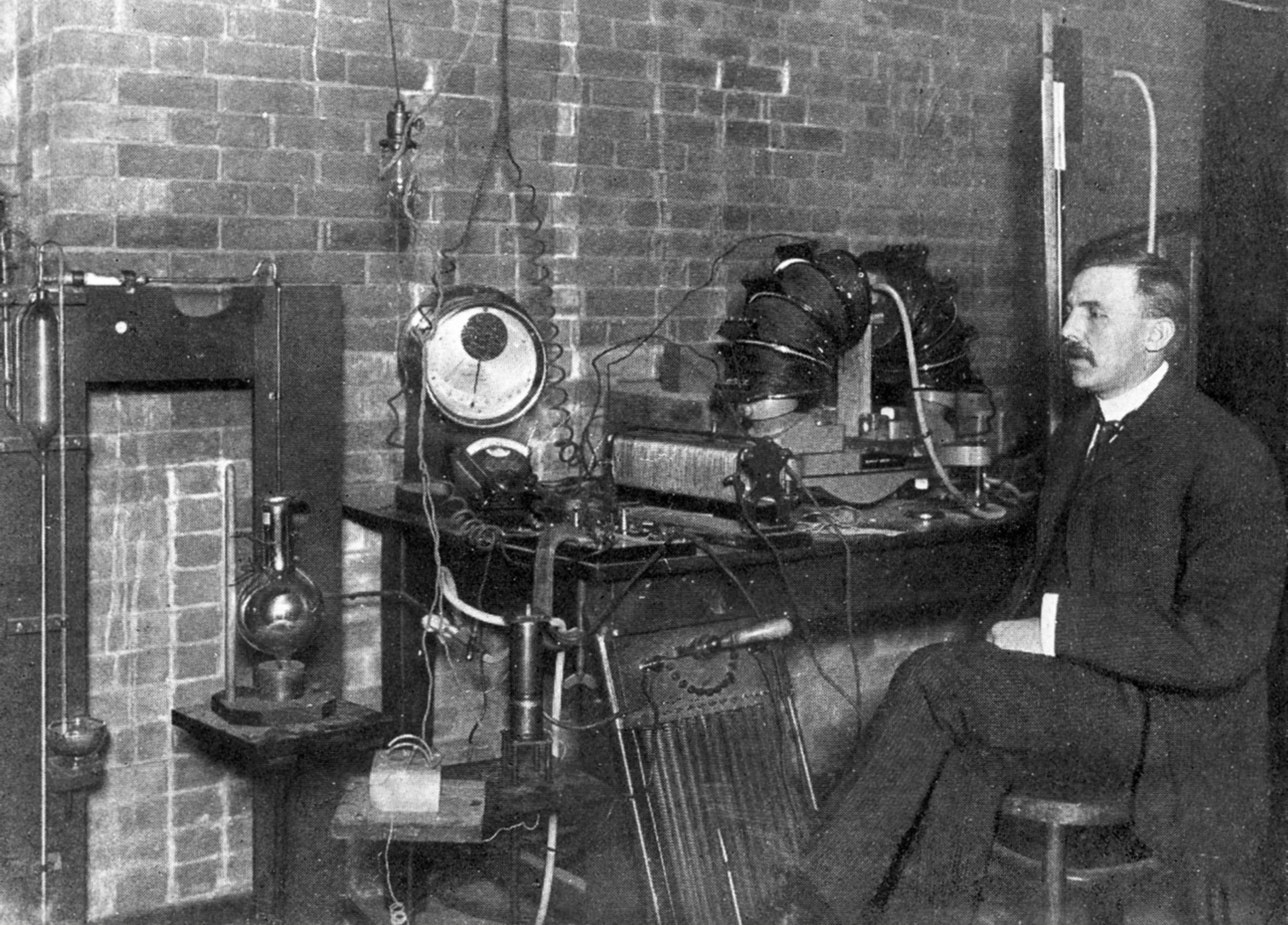 Ernest Rutherford in his laboratory