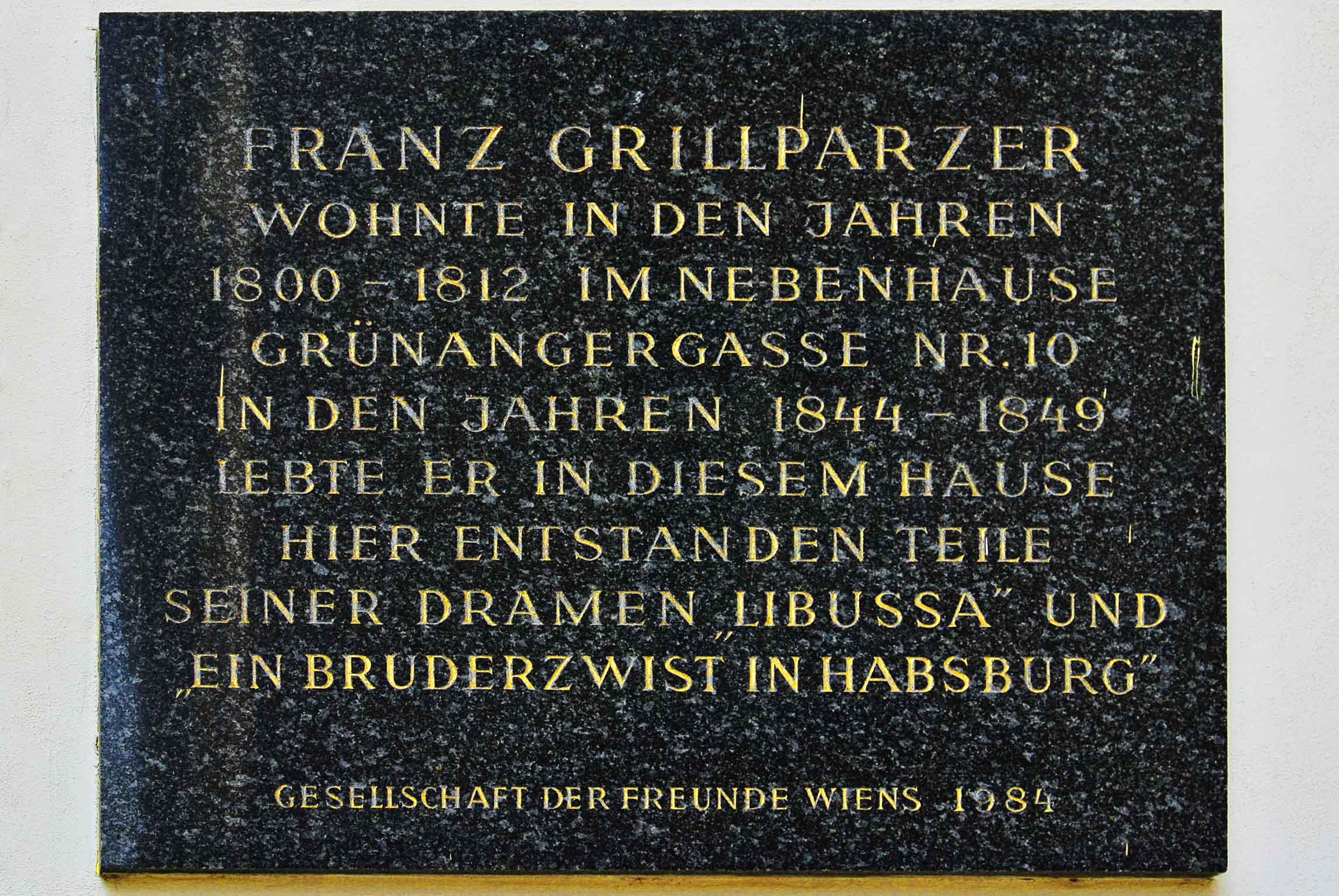 Franz Grillparzer-Gedenktafel, Vienna,Singerstraße-Grünangergasse,Innere Stadt.jpg