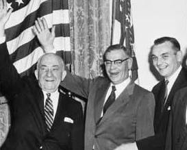 Three of the four candidates for U.S. Senate celebrate Alaska statehood. From left to right: Ernest Gruening, Bob Bartlett, and Mike Stepovich.