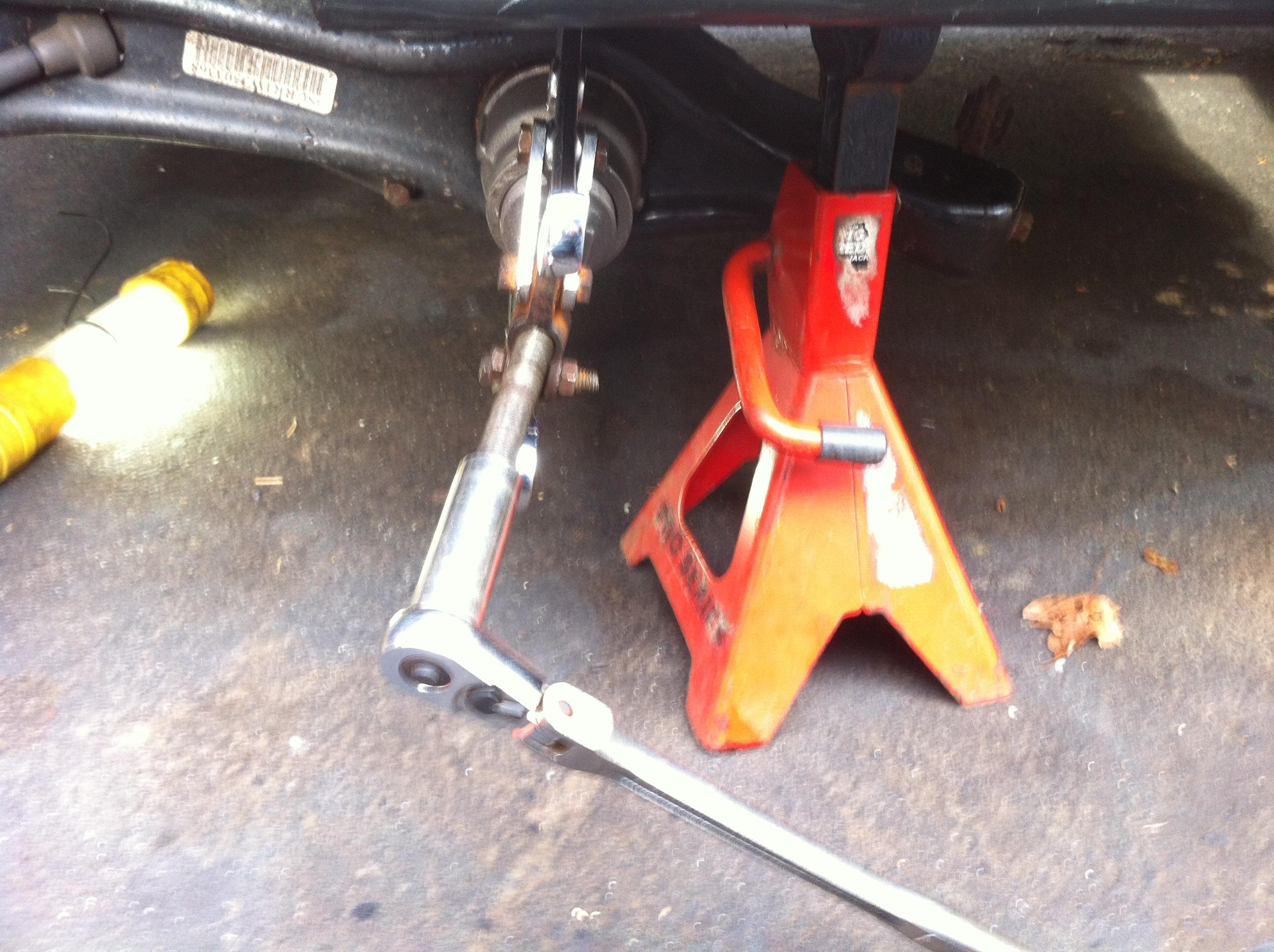 File:Honda trailing arm bushing tool hack - Pressing out the