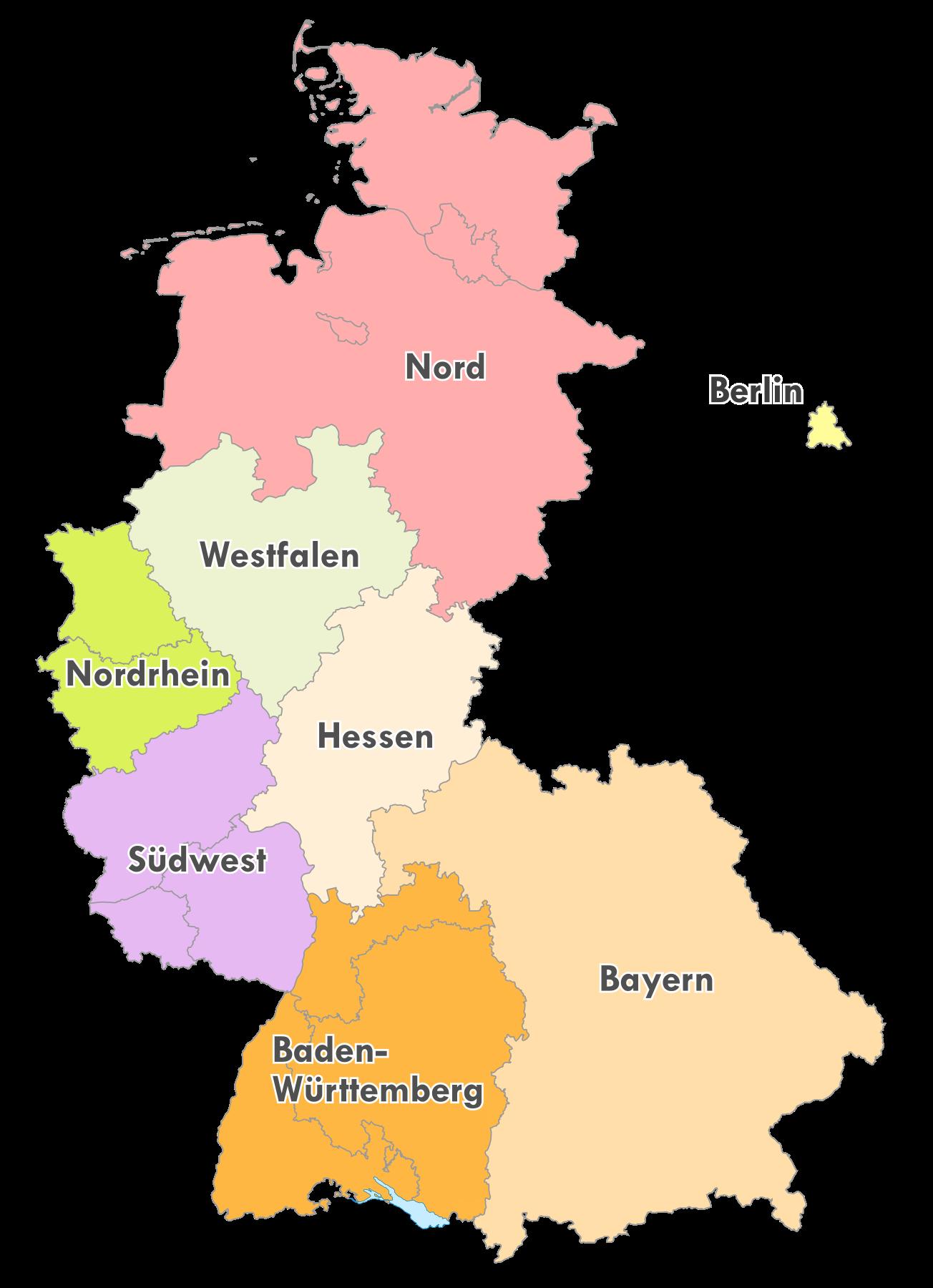 Geografische Einteilung der Oberligen zur Saison 1979/80