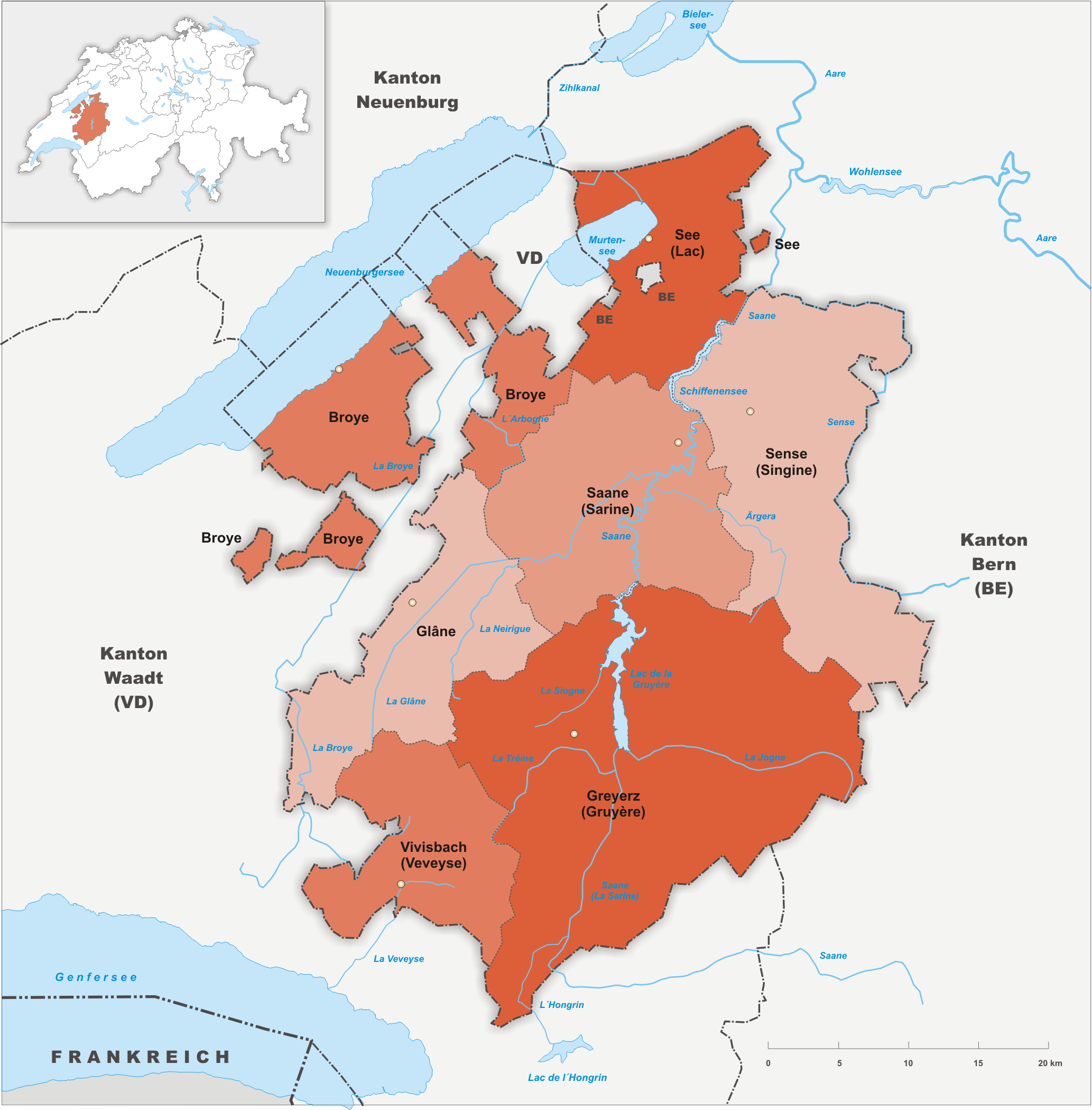 Bezirke des Kantons Freiburg