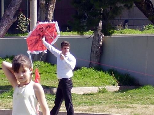 Kite-flyer on Clean Monday in Thessaloniki, Greece