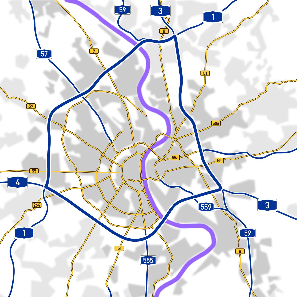 Kölner Autobahnring und wichtige Verkehrsadern