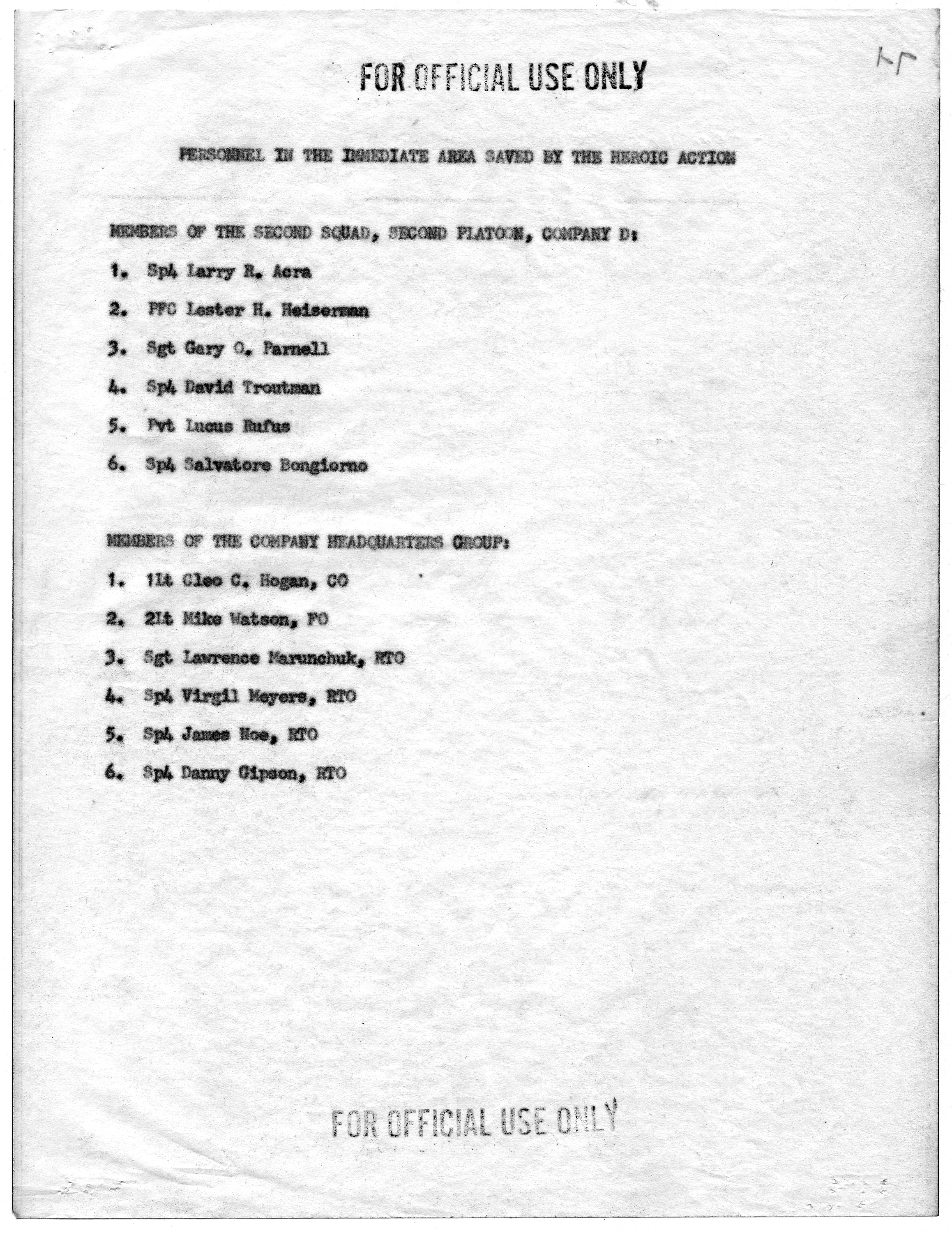 file list of personnel in the immediate area saved by the heroic file list of personnel in the immediate area saved by the heroic action of clifford